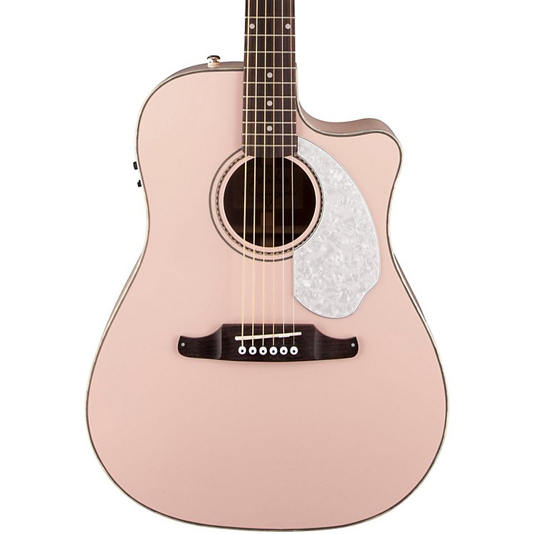 Fender California Series Sonoran SCE Cutaway Dreadnought Acoustic-Electric Guitar Shell Pink