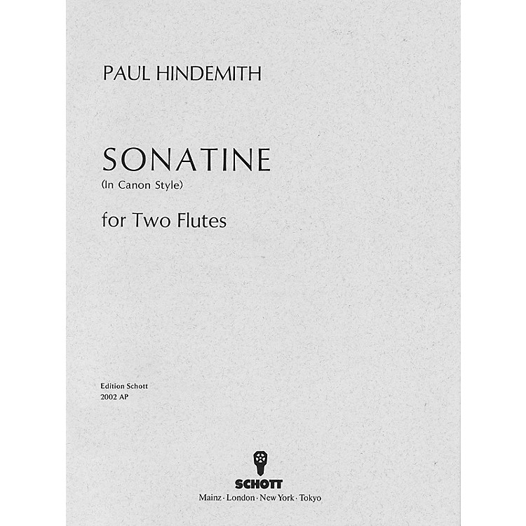 SchottCanonic Sonatina, Op. 31, No. 3 (1923) (Performance Score) Schott Series Composed by Paul Hindemith