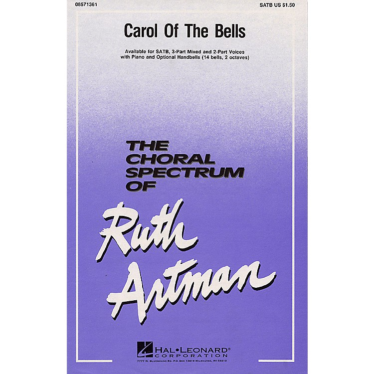 Hal LeonardCarol of the Bells 2-Part Arranged by Ruth Artman