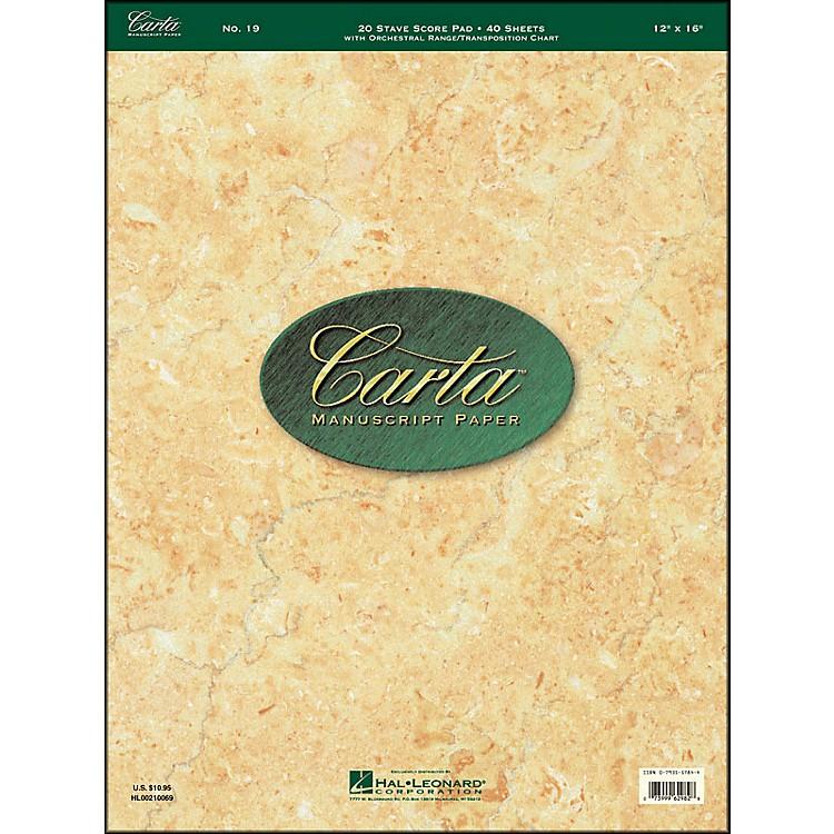 Hal LeonardCarta 19 Scorepad 12X16, 40 Sheet, 20 Stave, Manuscript