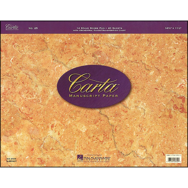 Hal LeonardCarta 25 Scorepad 14.75X11.5, 40 Sheet, 14 Stave Carta Manuscript