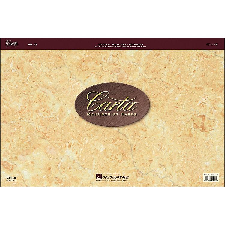 Hal LeonardCarta 27 Scorepad 18X12, 40 Sheet, 16 Stave Carta Manuscript