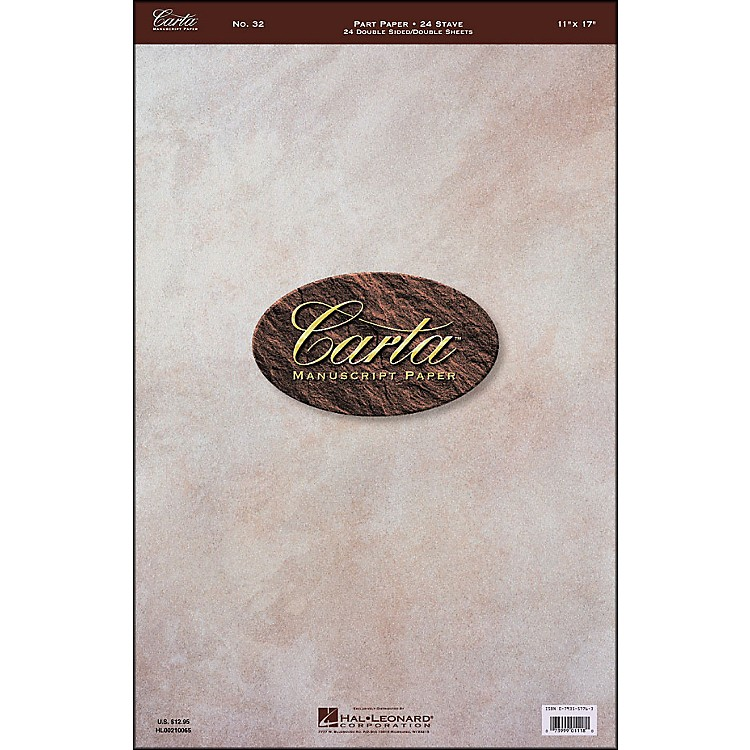 Hal LeonardCarta 32 Partpaper 11X17, Dbl Sheet Dblside, 24 Sheet, 24 Stave, Carta Manuscript