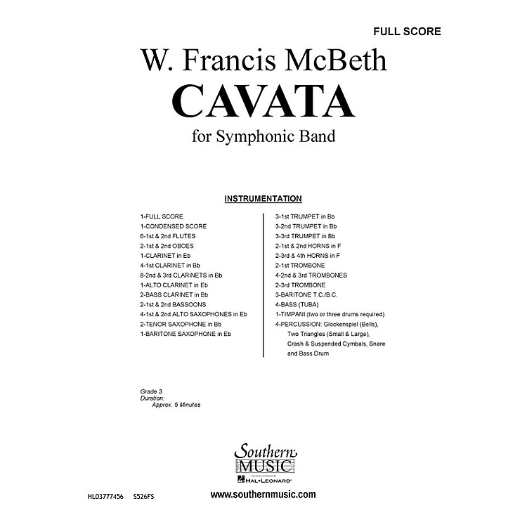 SouthernCavata (Band/Concert Band Music) Concert Band Level 2 Composed by W. Francis McBeth