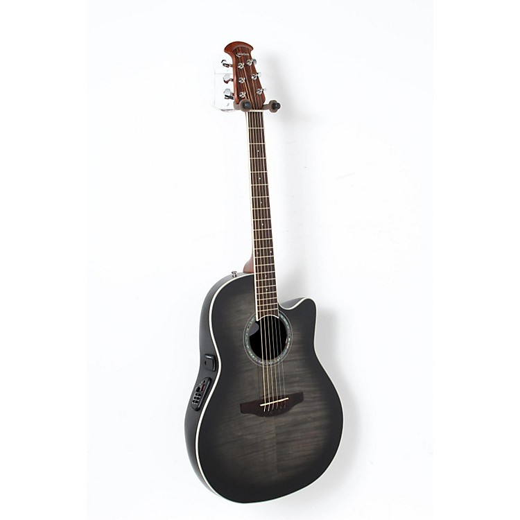 Ovation Celebrity Standard Plus Mid Depth Cutaway Acoustic-Electric Guitar Transparent Black Flame 888365842943