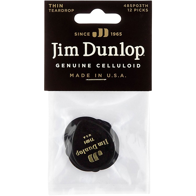 Dunlop Celluloid Teardrop Black Guitar Picks Thin 12 Pack