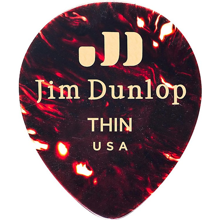 Dunlop Celluloid Teardrop Guitar Picks, Shell Medium 12 Pack
