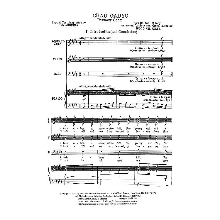 Transcontinental MusicChad Gadyo (Passover Song) SATB composed by Hugo Adler
