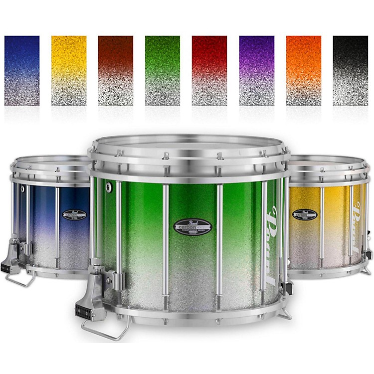 PearlChampionship CarbonCore Varsity FFX Marching Snare Drum Fade Top Finish14 x 12 in.Green Silver #971