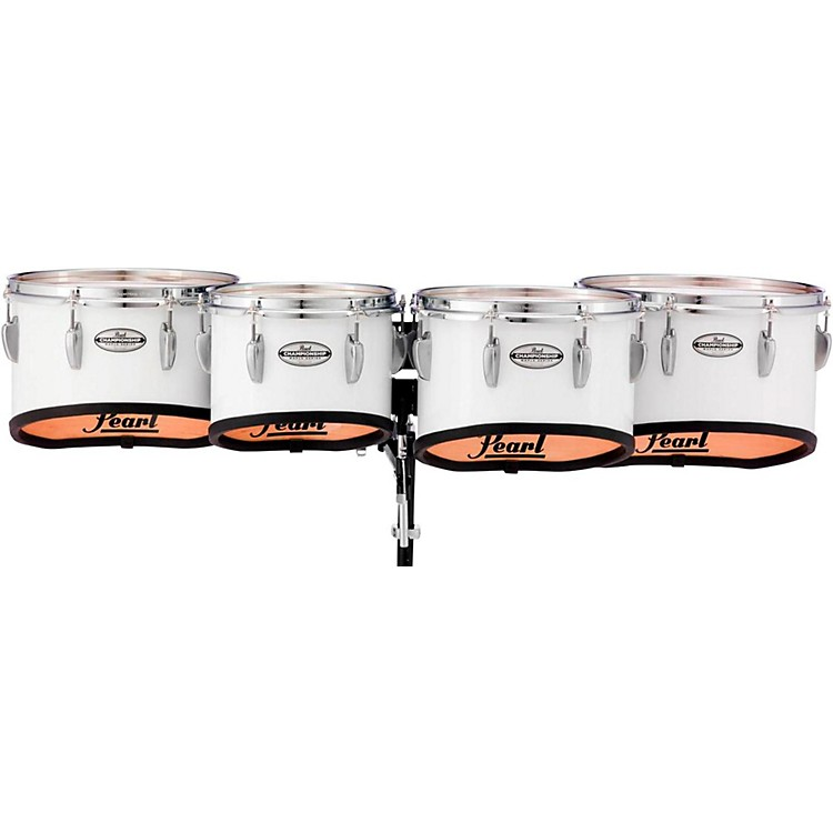 Pearl Championship Maple Marching Tenor Drums Quad Shallow Cut 10, 12, 13, 14 in. Pure White #33