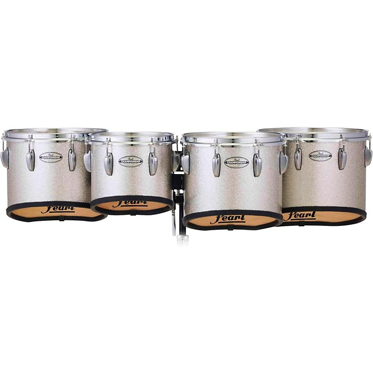 Pearl Championship Maple Marching Tenor Drums Quad Sonic Cut 10, 12, 13, 14 in. Silver Sparkle #360