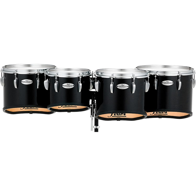 Pearl Championship Maple Marching Tenor Drums Quad Sonic Cut 10,12,13,14 Inch Midnight Black