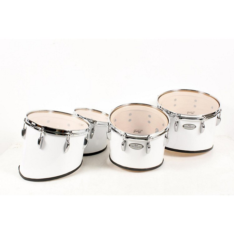 Pearl Championship Maple Marching Tenor Drums Quad Sonic Cut 10,12,13,14 Inch, Pure White 888365576237