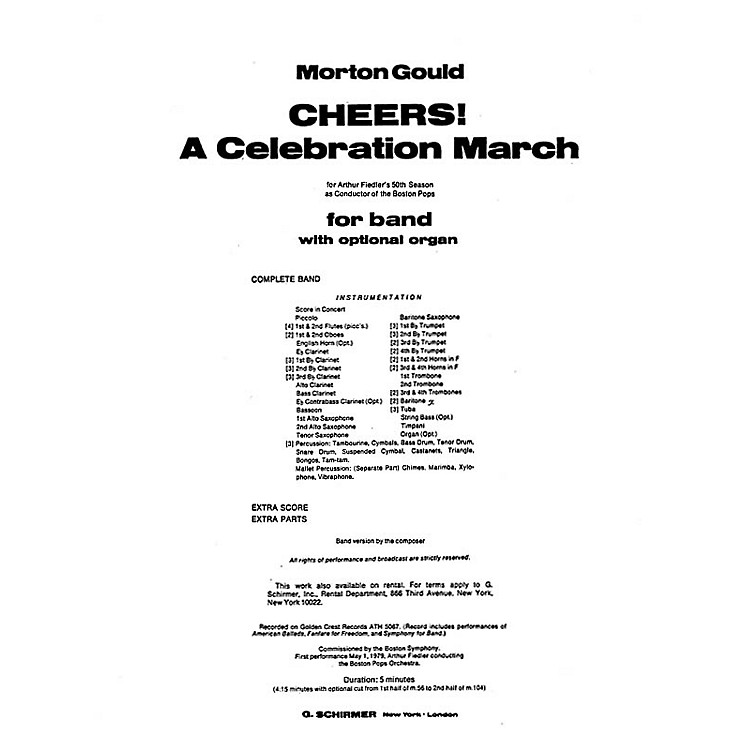 G. Schirmer Cheers! A Celebration March (Full Score) Concert Band Composed by Morton Gould