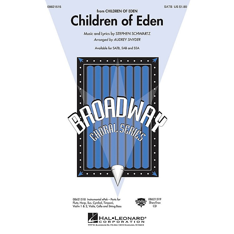 Hal Leonard Children of Eden SATB arranged by Audrey Snyder