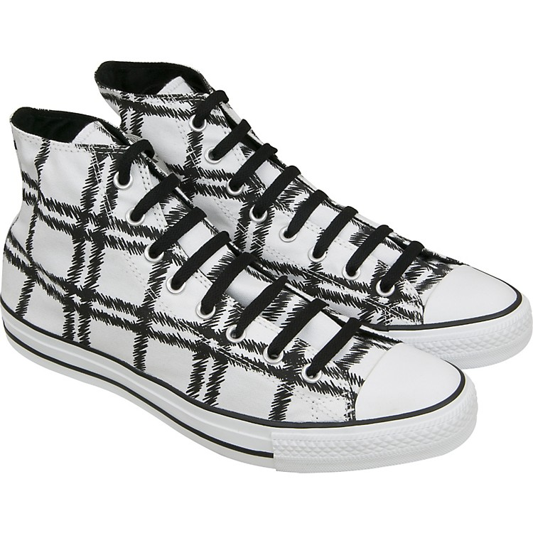 ConverseChuck Taylor Scribble Plaid Hi Top Sneakers (White)