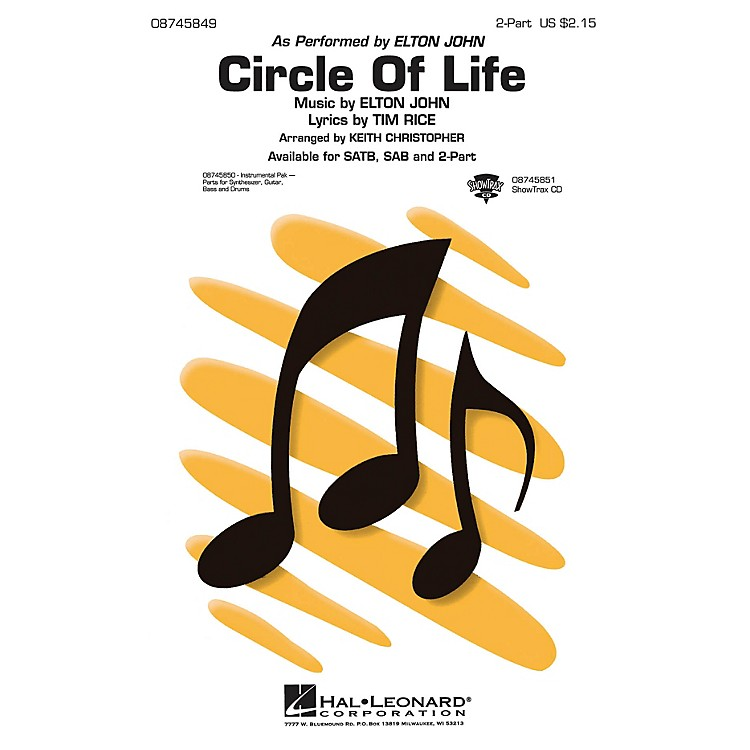 Hal LeonardCircle of Life 2-Part by Elton John arranged by Keith Christopher