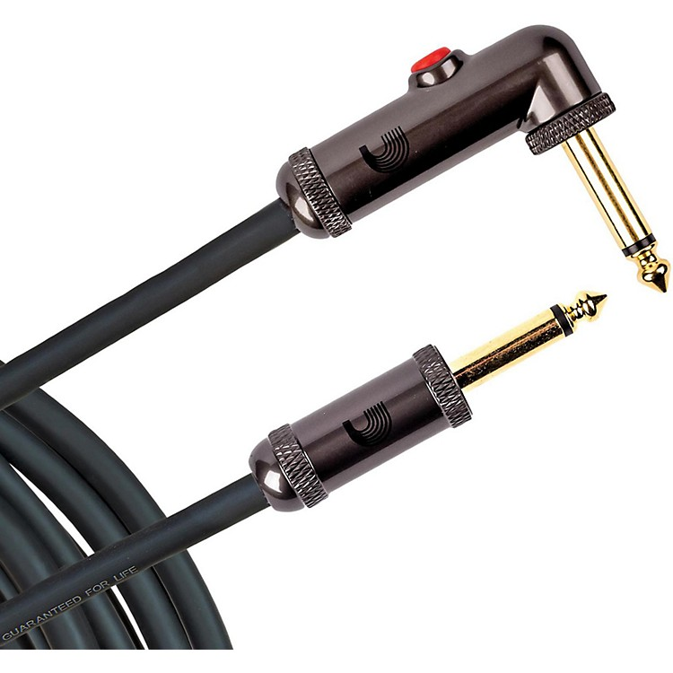 D'Addario Planet Waves Circuit Breaker Instrument Cable with Latching Cut-Off Switch, Right Angle Plug, by D'Addario 10 ft. Black