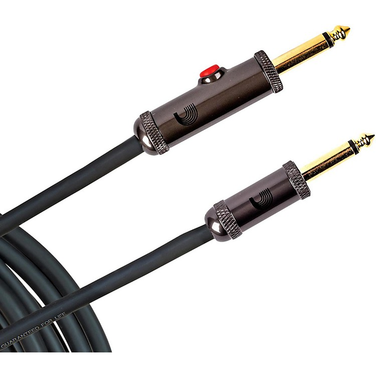 D'Addario Planet WavesCircuit Breaker Instrument Cable with Latching Cut-Off Switch, Straight Plug, by D'Addario30 ft.Black