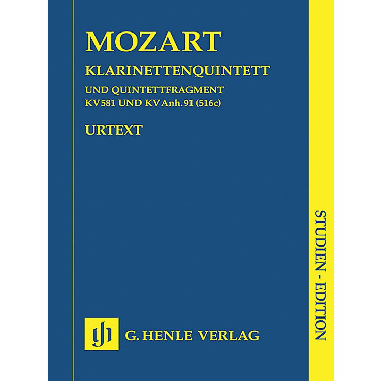 G. Henle VerlagClarinet Quintet A Major K581 and Fragment K.Anh. 91 (516c) Henle Study Scores by Mozart