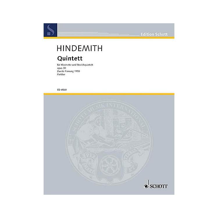 SchottClarinet Quintet Op. 30 (Study Score) Schott Series Composed by Paul Hindemith