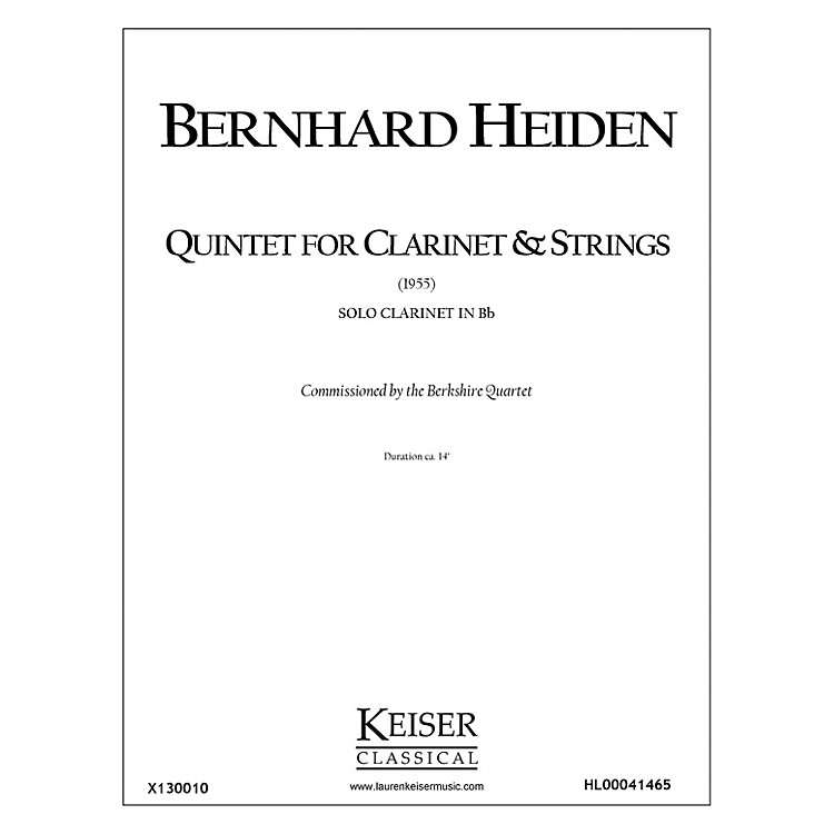 Lauren Keiser Music PublishingClarinet Quintet (Solo Part) LKM Music Series Composed by Bernhard Heiden