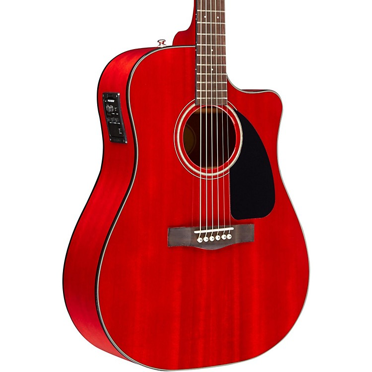 FenderClassic Design Series CD-140SCE Mahogany Cutaway Dreadnought Acoustic-Electric GuitarCherry Red