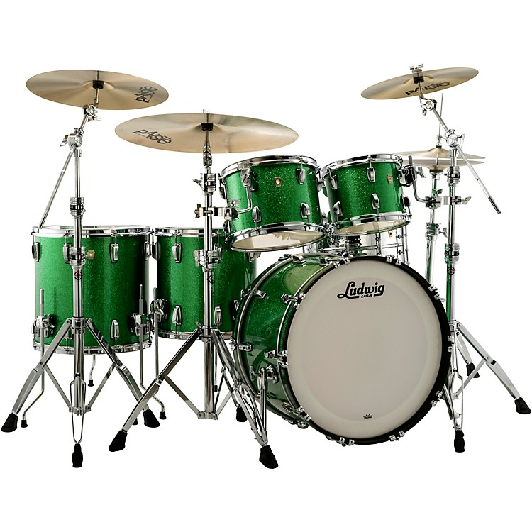 LudwigClassic Maple 5-Piece Studio Shell Pack with 22 in. Bass DrumGreen Sparkle