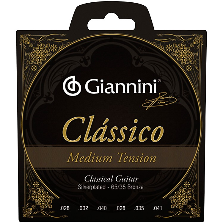 Giannini Classico Medium Tension Silverplated 65/35 Bronze Nylon Strings