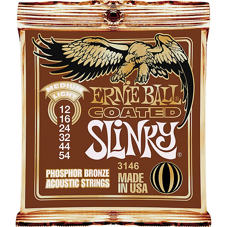 Ernie Ball Coated Slinky Phosphor Bronze Acoustic Strings Medium Light