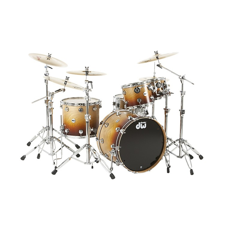 DW Collector's Series 4-Piece Lacquer Specialty Shell Pack Cherry Wood to Burnt Toast Fade Chrome Hardware