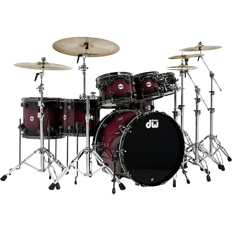 DWCollector's Series Purpleheart 7-Piece Lacquer Specialty Shell Pack Natural to Black Burst with Black Nickel Hardware