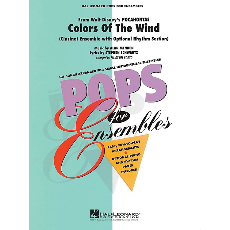 Hal Leonard Colors of the Wind (Clarinet Ensemble (opt. rhythm section)) Concert Band Level 2-3 by Elliot Del Borgo