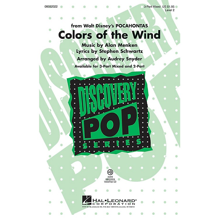 Hal LeonardColors of the Wind (from Pocahontas) Discovery Level 2 3-Part Mixed arranged by Audrey Snyder