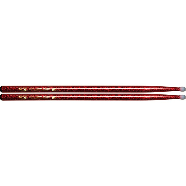 Vater Colorwrap Nylon Tip Sticks - Pair Red Sparkle 5B