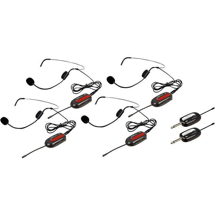VocoProCommander-Play-4 4 UHF Wireless Headset Mics with Receivers