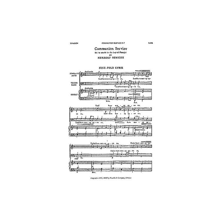 NovelloCommunion Service in F SATB Composed by Herbert Sumsion