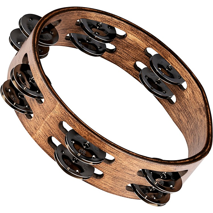 Meinl Compact Wood Tambourine with Double Row Stainless Steel Jingles 8 in. Walnut Brown