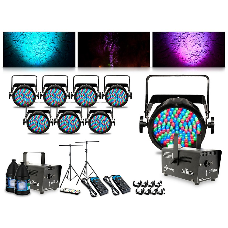 CHAUVET DJ Complete Lighting Package with Eight Slim Par 56, Two Huricane 700 Fog Machines and IRC6 Remote Control