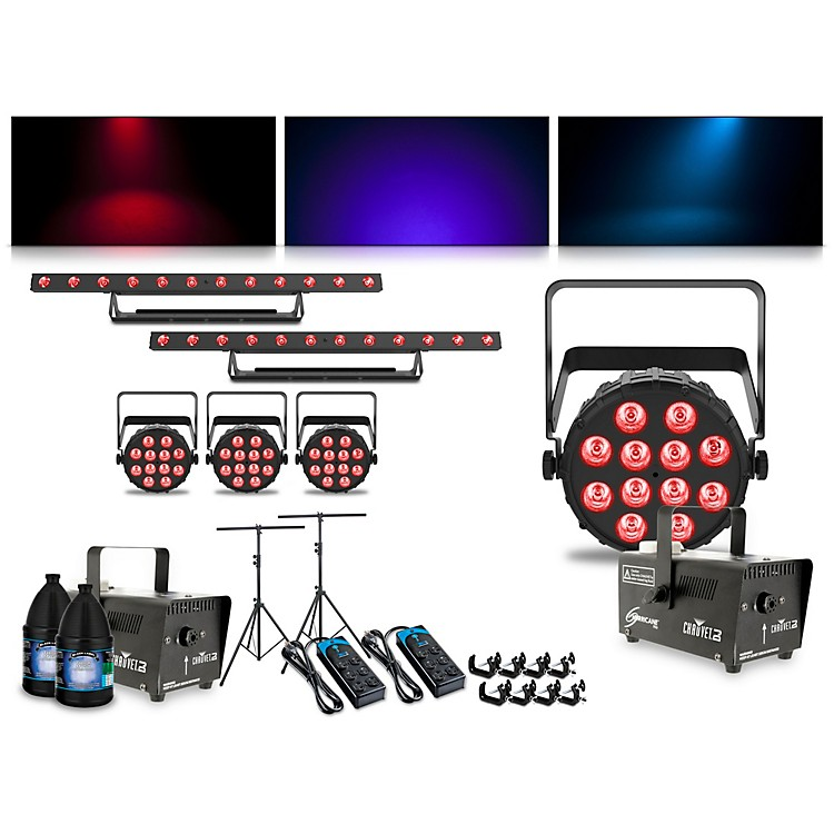 CHAUVET DJComplete Lighting Package with Four SlimPAR Q12 BT, Two ColorBAND T3 BT and Two Hurricane 700 Fog Machines