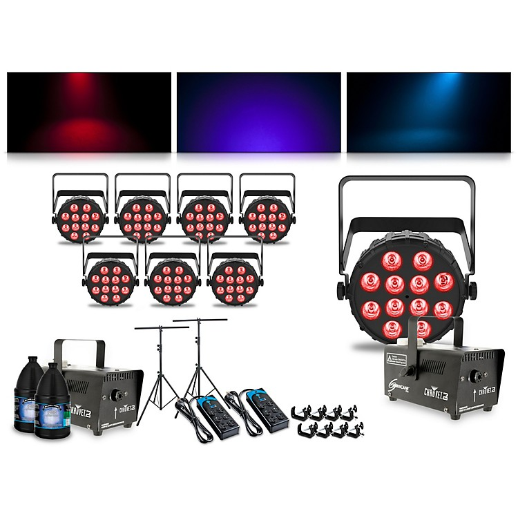 CHAUVET DJ Complete Lighting Package with Four SlimPAR T12 BT, Four SlimPAR Q12 BT and Two Hurricane 700 Fog Machines