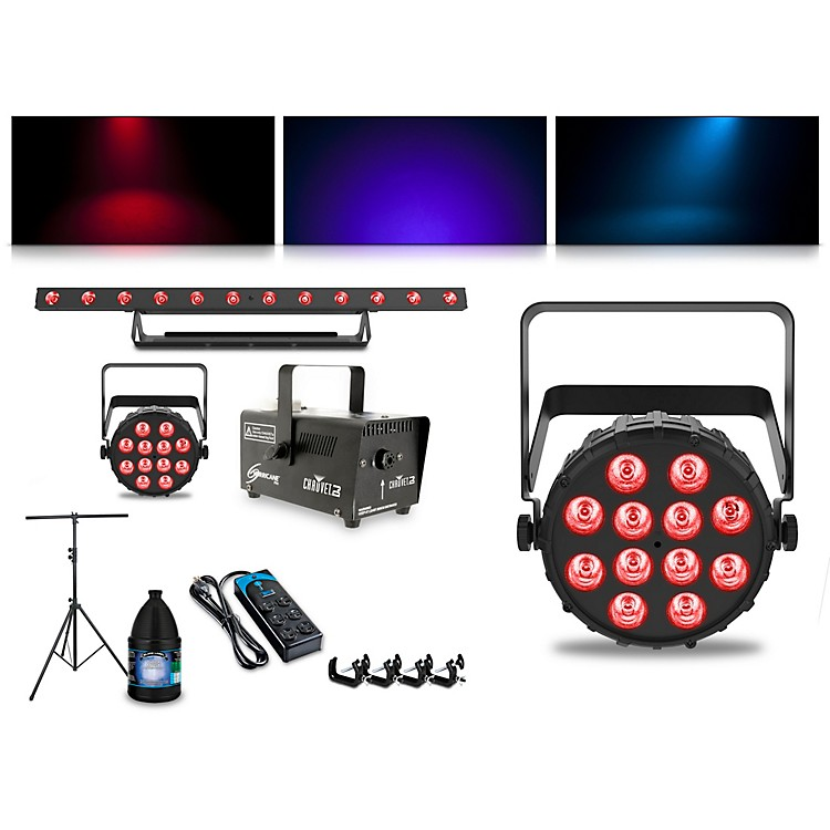 CHAUVET DJComplete Lighting Package with Two SlimPAR T12 BT, ColorBAND T3 BT and Hurricane 700 Fog Machine