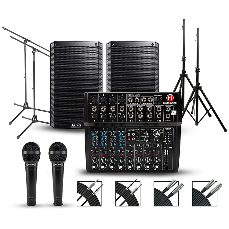 HarbingerComplete PA Package with Harbinger L1202FX 12-channel Mixer and Alto Truesonic 2 Series Active Speakers