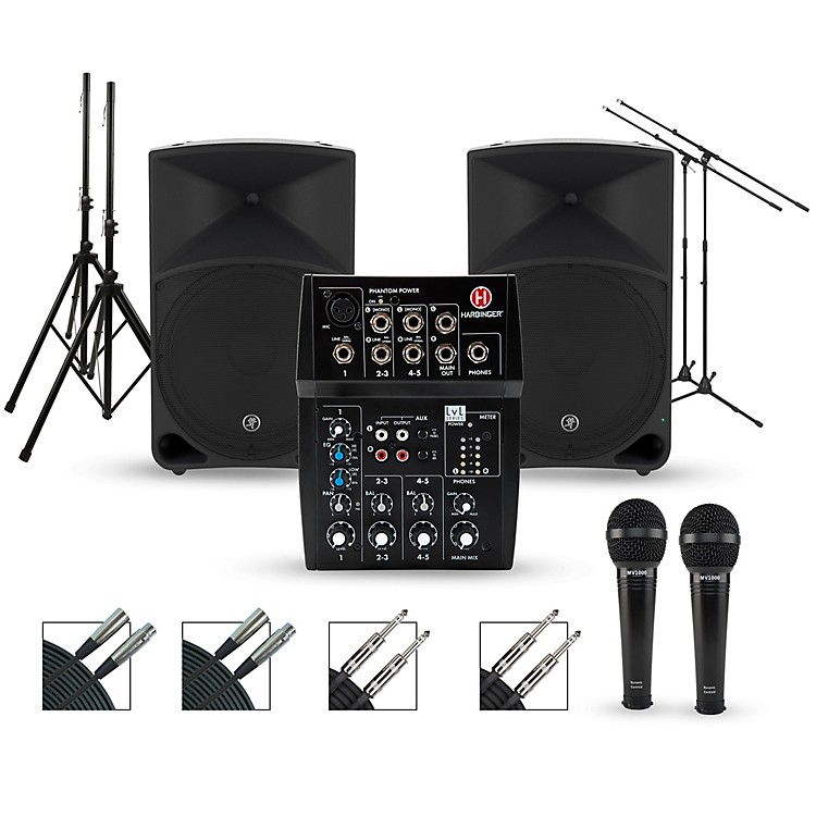 Harbinger Complete PA Package with L502 Mixer and Mackie Thump Speakers 15