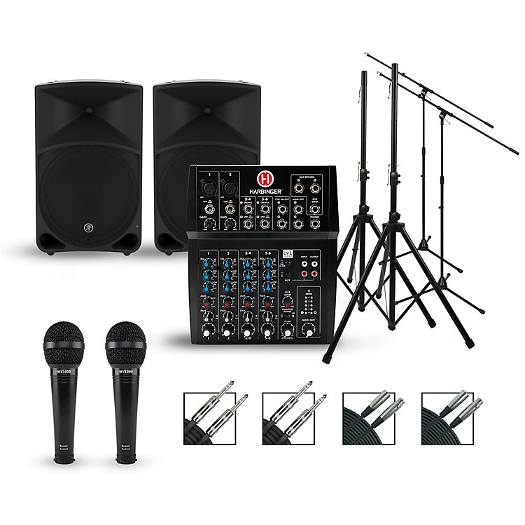 HarbingerComplete PA Package with L802 Mixer and Mackie Thump Speakers15