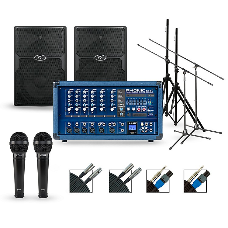 PhonicComplete PA Package with Powerpod 630R Mixer and Peavey PVX Series Speakers12