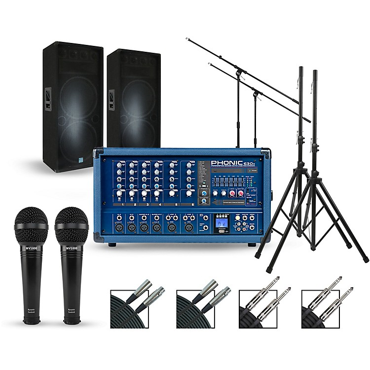 Phonic Complete PA Package with Powerpod 630R Plus Mixer and Gemini GSM Speakers Dual 15