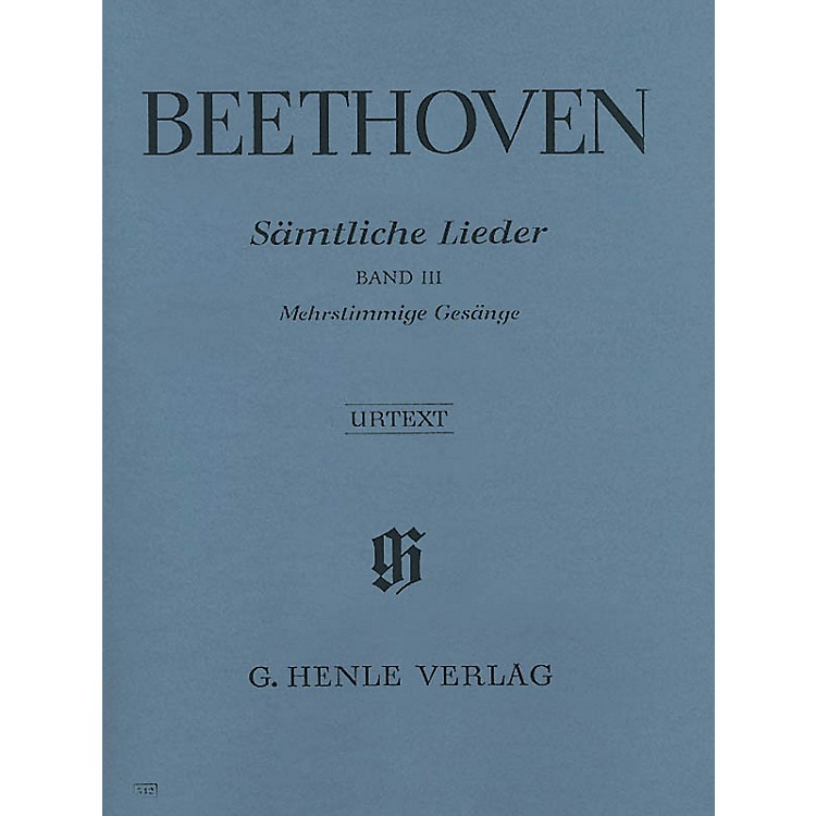 G. Henle VerlagComplete Songs for Voice and Piano - Vol III Henle Music Softcover by Beethoven Edited by Helga Lühning