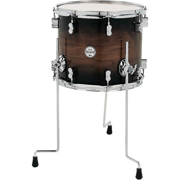 PDP by DW Concept Exotic Series Floor Tom Walnut to Charcoal Burst 14 x 12 in.