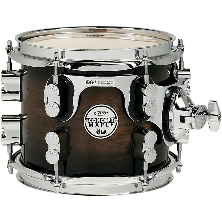 PDP by DW Concept Exotic Series Walnut to Charcoal Burst, Suspended Tom 8 x 7 in.